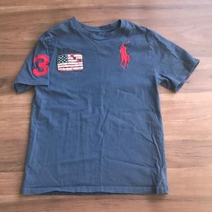 Polo Ralph Lauren Navy and Red T-Shirt - M